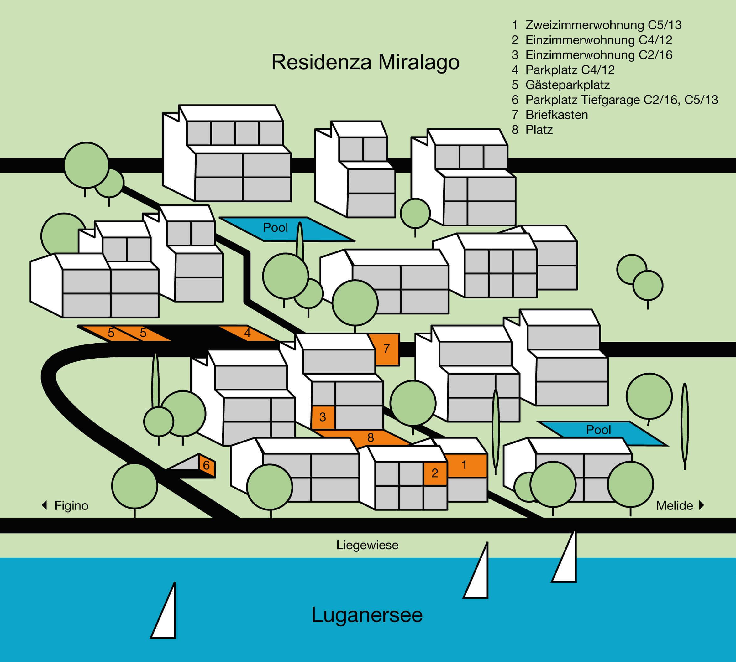 Dieser Plan zeigt eine Übersicht der Residenza Miralago