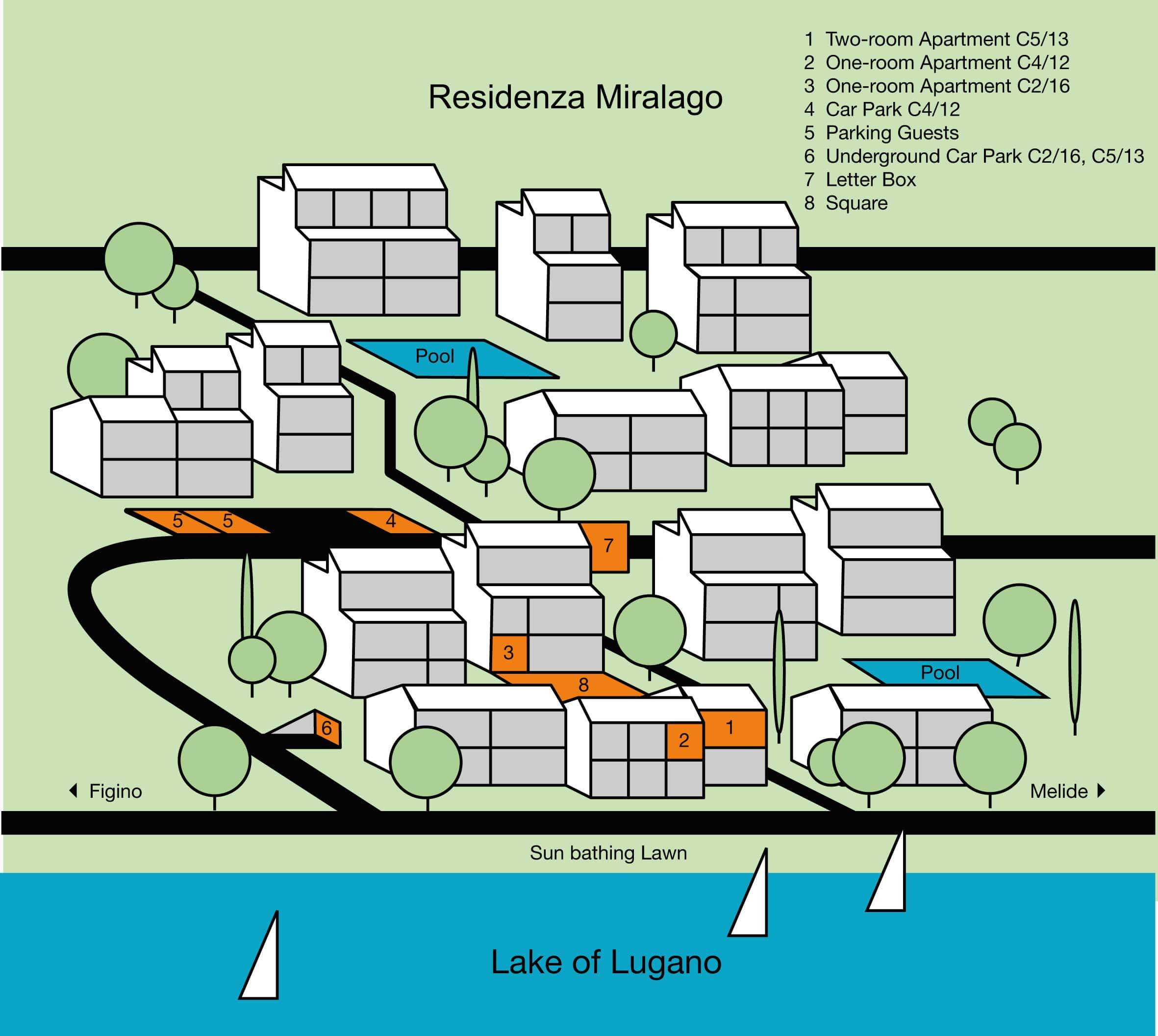 This map shows an overview of the Residenza Miralago